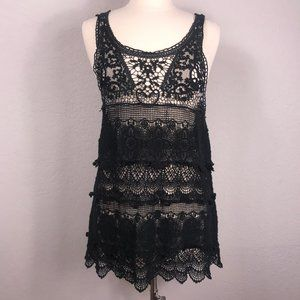 Intimately Free People Black Lace Cover Up Tunic